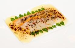 Delicious carpaccio of fois gras and scallop Royalty Free Stock Photography