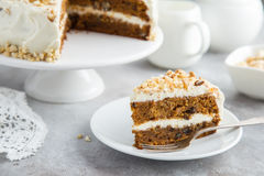 Delicious carrot cake with nuts Stock Images