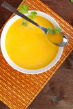 Delicious carrot cream soup. Royalty Free Stock Image
