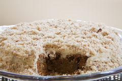 Delicious Carrot and Walnut Cake. With a Piece Taken Out stock image