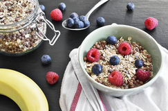 Delicious cereal breakfast with bowl and fresh fruits Royalty Free Stock Images