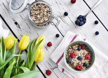 Delicious cereal breakfast with bowl and fresh fruits Royalty Free Stock Photography