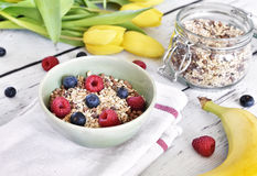 Delicious cereal breakfast with bowl and fresh fruits Royalty Free Stock Photo