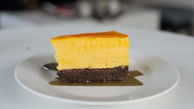 A delicious cheese cake. Cheese cake is delicious, sweet, soft palate, you will love the taste royalty free stock photos