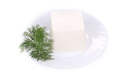 Delicious cheese and dill. Royalty Free Stock Images