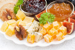 Delicious cheese and fruit plate to the holiday, closeup Royalty Free Stock Image
