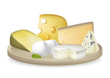 Delicious Cheese plate. Arranged types of cheese on a plate, detailed illustrated Royalty Free Stock Photos