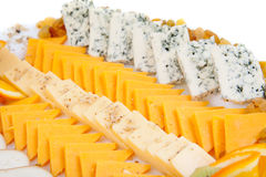 Delicious cheese platter. With various cheeses Royalty Free Stock Images