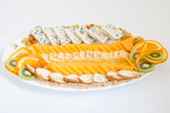 Delicious cheese platter with various cheeses Royalty Free Stock Photography