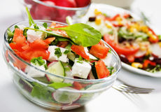 Delicious cheese salad. With tomato, cucumber, radish and other vegetable Stock Photo