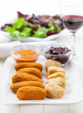 Delicious cheese sticks with chutney Stock Photo