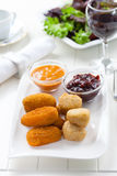 Delicious cheese sticks with chutney Royalty Free Stock Photography