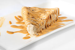 Delicious cheesecake with caramel topping Royalty Free Stock Image