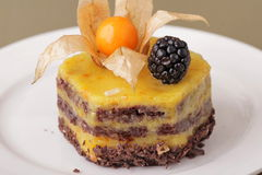 Delicious cheesecake dessert closeup Royalty Free Stock Image