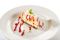 Delicious cheesecake with raspberry sauce Stock Photo