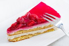 Delicious cheesecake with strawberries Royalty Free Stock Photo