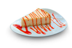 Delicious cheesecake with strawberries. On a plate Stock Photos
