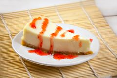 Delicious cheesecake with strawberries on  plate Royalty Free Stock Image