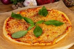 Delicious caprese pizza. Delicious cheesy and big caprese pizza royalty free stock photos