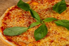 Delicious caprese pizza. Delicious cheesy and big caprese pizza royalty free stock images