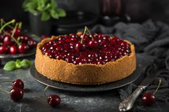 Delicious cherry cheesecake on dark background Royalty Free Stock Images