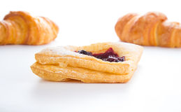 Delicious Cherry puff pastry with croissants  Royalty Free Stock Photography
