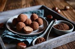 Chestnut truffles coated with cocoa powder. Delicious chestnut truffles coated with cocoa powder stock photo