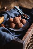 Chestnut truffles coated with cocoa powder. Delicious chestnut truffles coated with cocoa powder royalty free stock photo