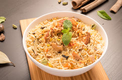 Delicious chicken biryani in a white round bowl. Delicious chicken biryani in a white round bowl Royalty Free Stock Images