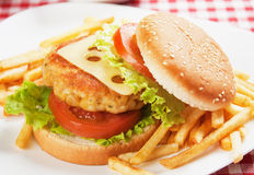 Delicious chicken burger Stock Photos