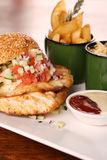 Delicious chicken burger Stock Images