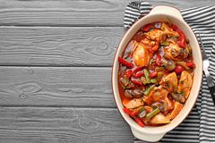 Delicious chicken cacciatore in baking dish Royalty Free Stock Image