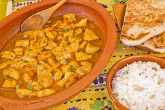 Delicious chicken curry with rice and pitta bread Stock Photography