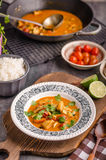 Delicious chicken curry with vegetable stock photography