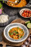 Delicious chicken curry with vegetable stock photos