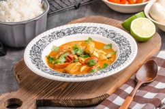 Delicious chicken curry with vegetable royalty free stock photo