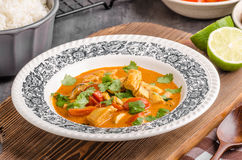 Delicious chicken curry with vegetable royalty free stock photography