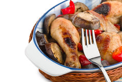 Delicious chicken with Eggplant Stock Image