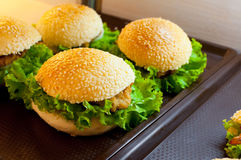 A Delicious chicken hamburger and salad in the supermarket stock photo