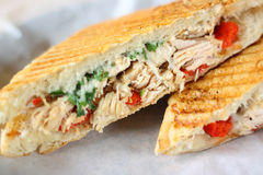 Delicious chicken panini sandwich stock photo