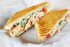 Delicious chicken panini sandwich Royalty Free Stock Photography