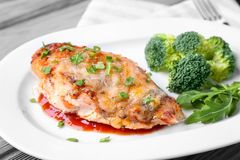 Free Delicious Chicken Parmesan Meal With Broccoli Stock Image - 105429241