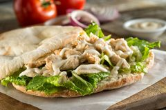Chicken Pita Sandwich. A delicious chicken pita sandwich with lettuce and sauce stock photo