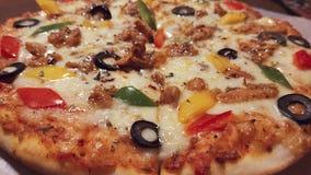 Delicious chicken pizza Italian dish. Photography of delicious chicken pizza with various ingredients stock images