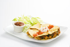 Delicious chicken quesadilla and fresh vegetables Stock Photos