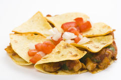 Delicious chicken quesadilla and fresh vegetables. Isolated Stock Images