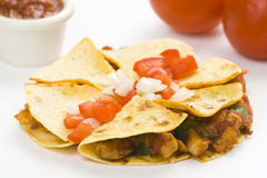 Delicious chicken quesadilla and fresh vegetables Stock Images