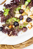 Delicious chicken salad with grapes and croutons Royalty Free Stock Photos