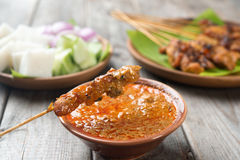 Delicious chicken satay Royalty Free Stock Photos