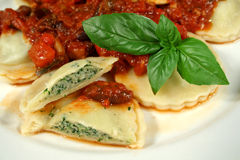 Delicious Chicken And Spinach Ravioli. Delightful chicken and spinach ravioli with capsicum, olive and tomato sauce stock images